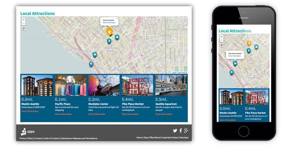 UXPA 2016 Website-Local Attractions Map Displays