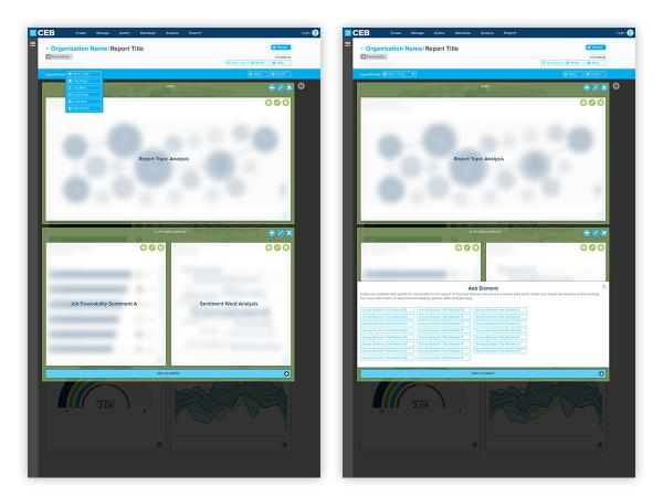 Visual layout builder interface screens.