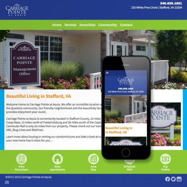 Carriage Pointe at Aquia Homepage-Desktop and Mobile